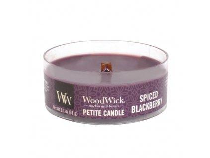 Svíčka WoodWick Spiced Blackberry Pikantní Ostružina 31g petite