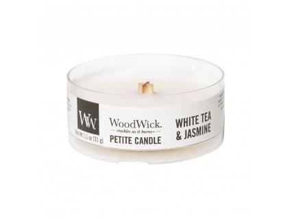 Svíčka WoodWick White tea & Jasmine Bílý Čaj a Jasmín 31g petite