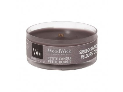 Svíčka WoodWick Sueded Sandalwood Santalové Dřevo 31g petite