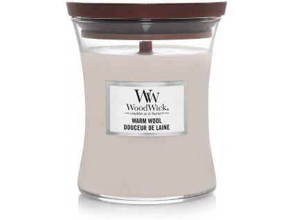 Svíčka WoodWick Warm Wool - Hřejivá Vlna 85g malá