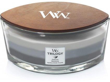 Svíčka WoodWick Trilogy Warm Woods Hřejivé dřevo 453,6g lodička