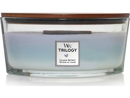 Svíčka WoodWick Trilogy Calming Retreat Uklidňující Ústup 453,6g lodička