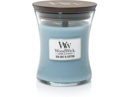 Svíčka WoodWick Sea Salt Cotton Mořská Sůl a Bavlna 275g střední