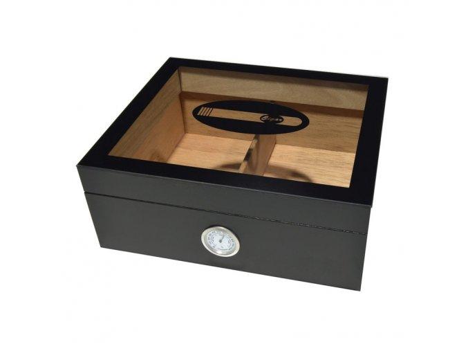 1836 humidor 25d black glass