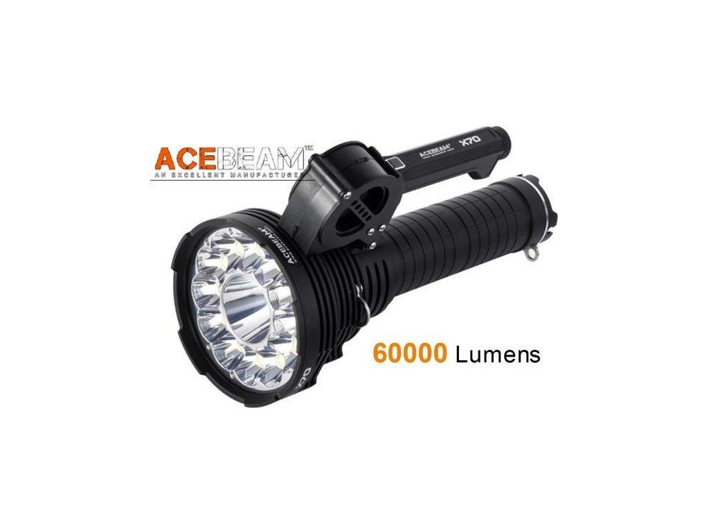 Acebeam -  Extrémne výkonná LED Baterka ACEBEAM X70 - výstup neuveriteľných 60000 lumenov