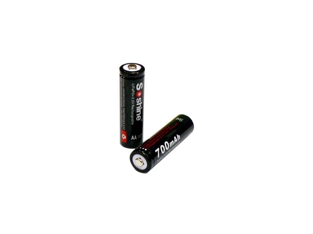 Soshine -  Akumulátor SOSHINE - AA/14500, LiFePo4, 700 mAh, Button Top, bez ochrany