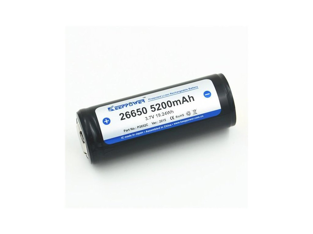 Keeppower -  Akumulátor KEEPPOWER - 26650 (Li-ion) 5200 mAh, BUTTON, s ochranou