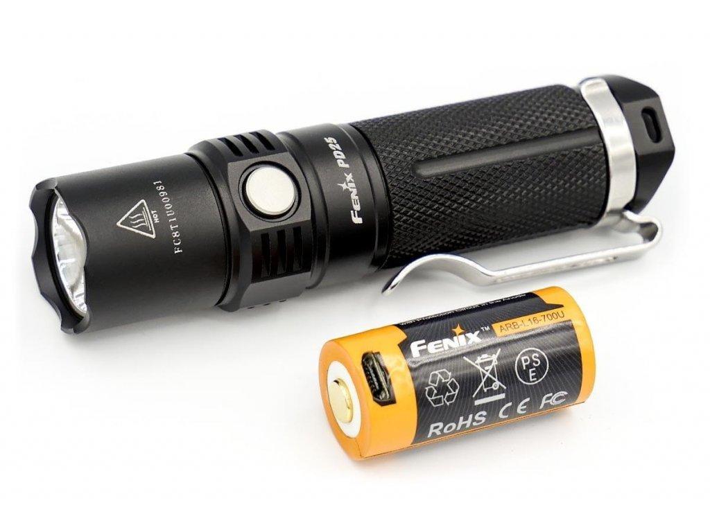 Fenix -  LED baterka Fenix PD25 (550lm) + USB aku 700 mAh