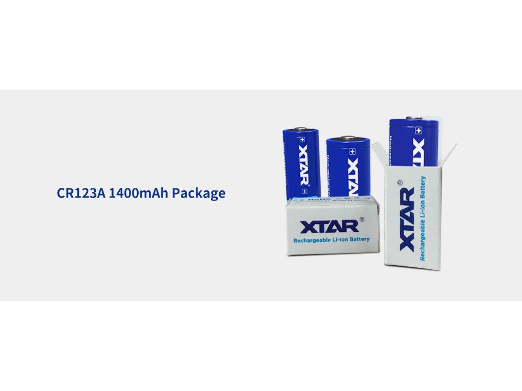 Xtar -  Batéria XTAR CR123A/16340 - 1400mAh, Button Top, 3V - nenabíjateľná