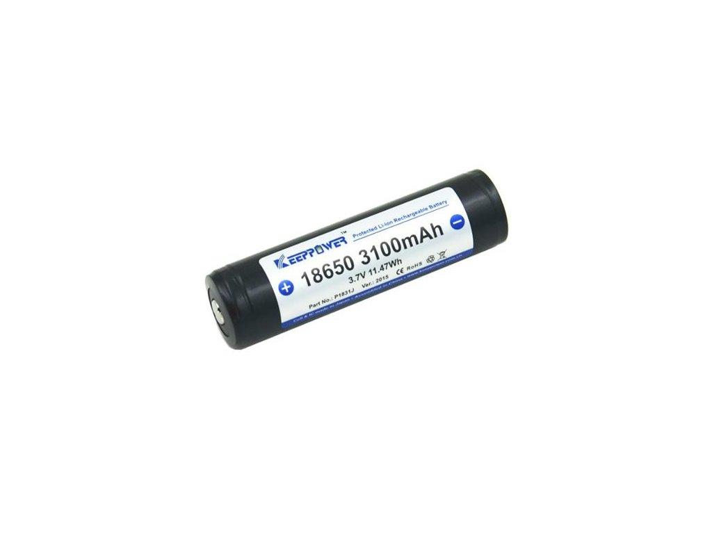 Keeppower -  Akumulátor KEEPPOWER 18650 - 3100 mAh, Button Top, 3.7V, s ochranou, 6.2A