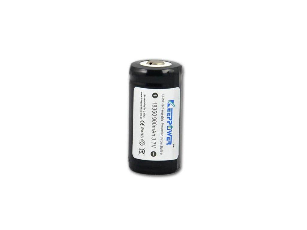 Keeppower -  Akumulátor KEEPPOWER 18350 - 900 mAh, Button Top, 3.7V, s ochranou, 2A