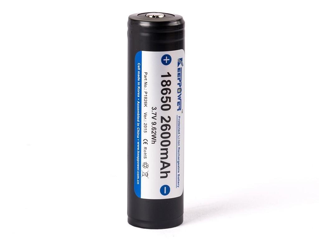 Keeppower -  Akumulátor KEEPPOWER 18650 - 2600 mAh, Button Top, 3.7V, s ochranou, 5.2A