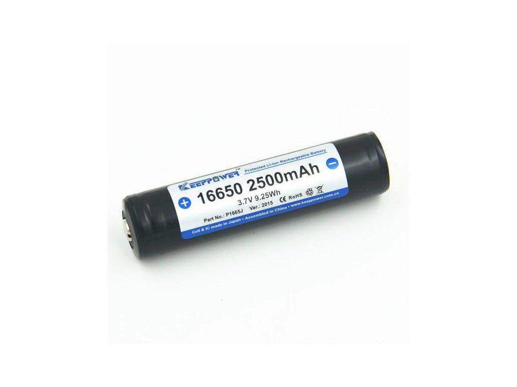 Keeppower -  Akumulátor KEEPPOWER 16650 - 2500 mAh, Button Top, 3.7V, s ochranou, 6A