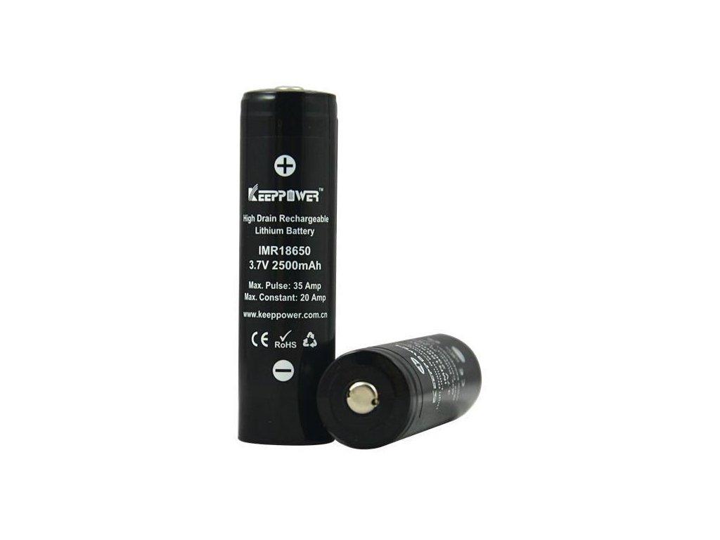 Keeppower -  Akumulátor KEEPPOWER IMR18650 - 2500 mAh, Button Top, 3.7V, bez ochrany, 35A