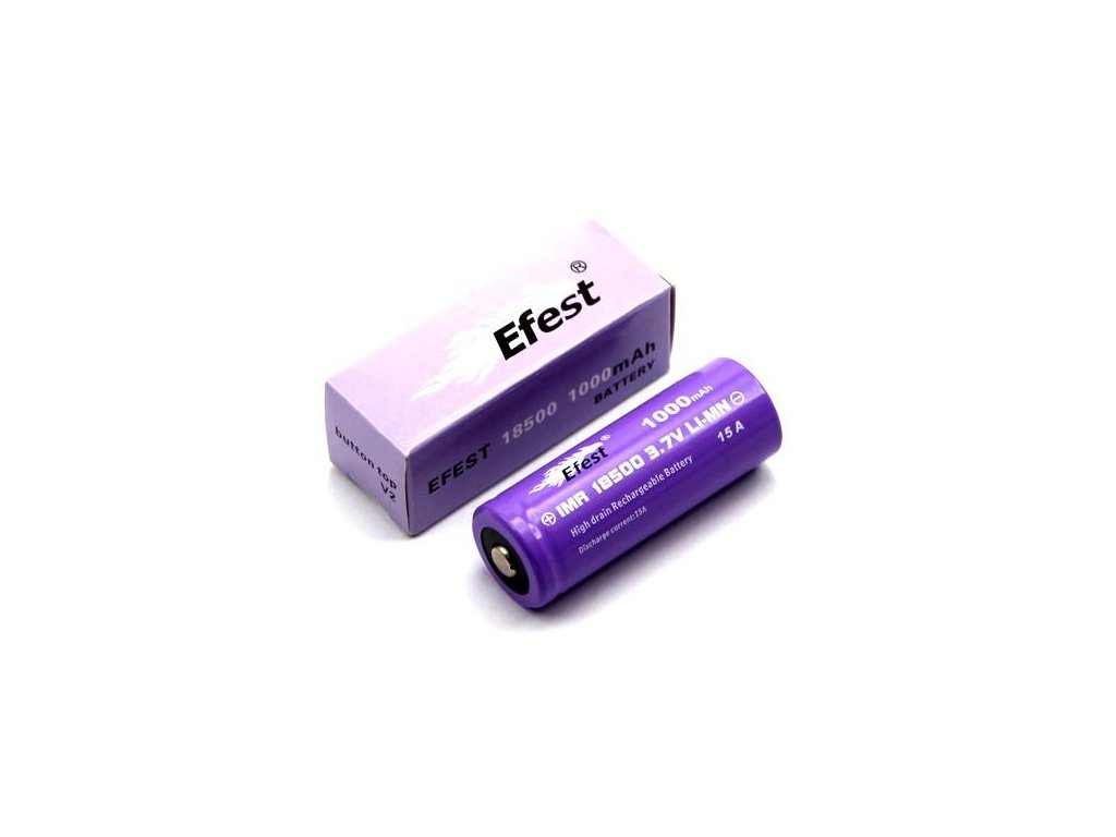 Efest -  Akumulátor EFEST IMR18500 - 1000 mAh, Button Top, 3.7V, bez ochrany, 15A
