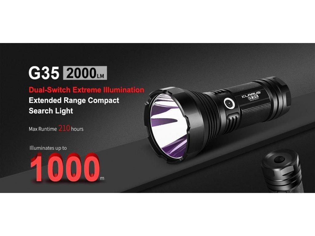 Klarus -  LED Baterka KLARUS G35 - nová LED CREE XHP35 HI D4, dosah svetla až 1000 metrov