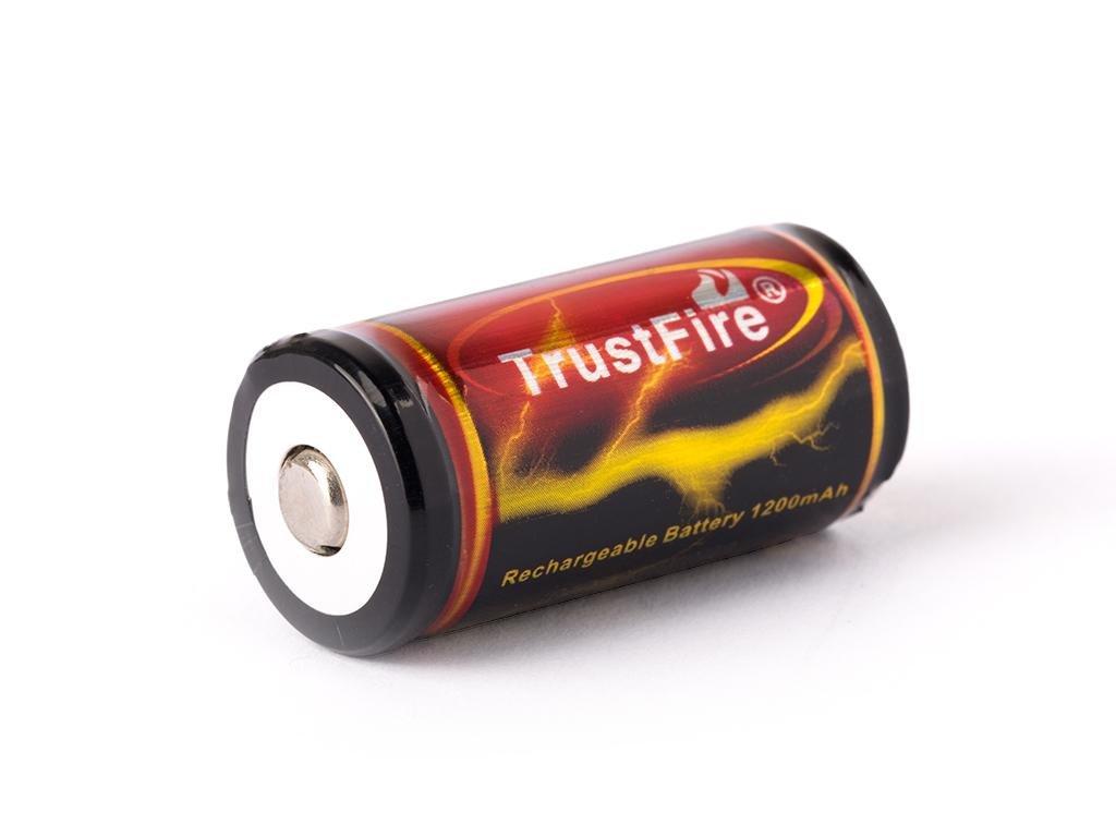 Trustfire -  Akumulátor TRUSTFIRE 18350 - 1200 mAh, Button Top, 3.7V, s ochraanou