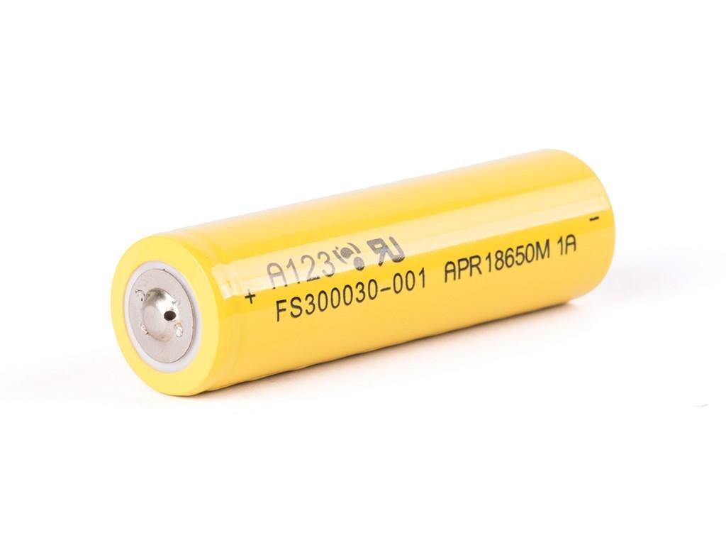 AKU-A123-18650-1100-B -  Akumulátor A123 APR18650M - LiFePo4, 18650, 1100 mAh, bez ochrany, Button Top