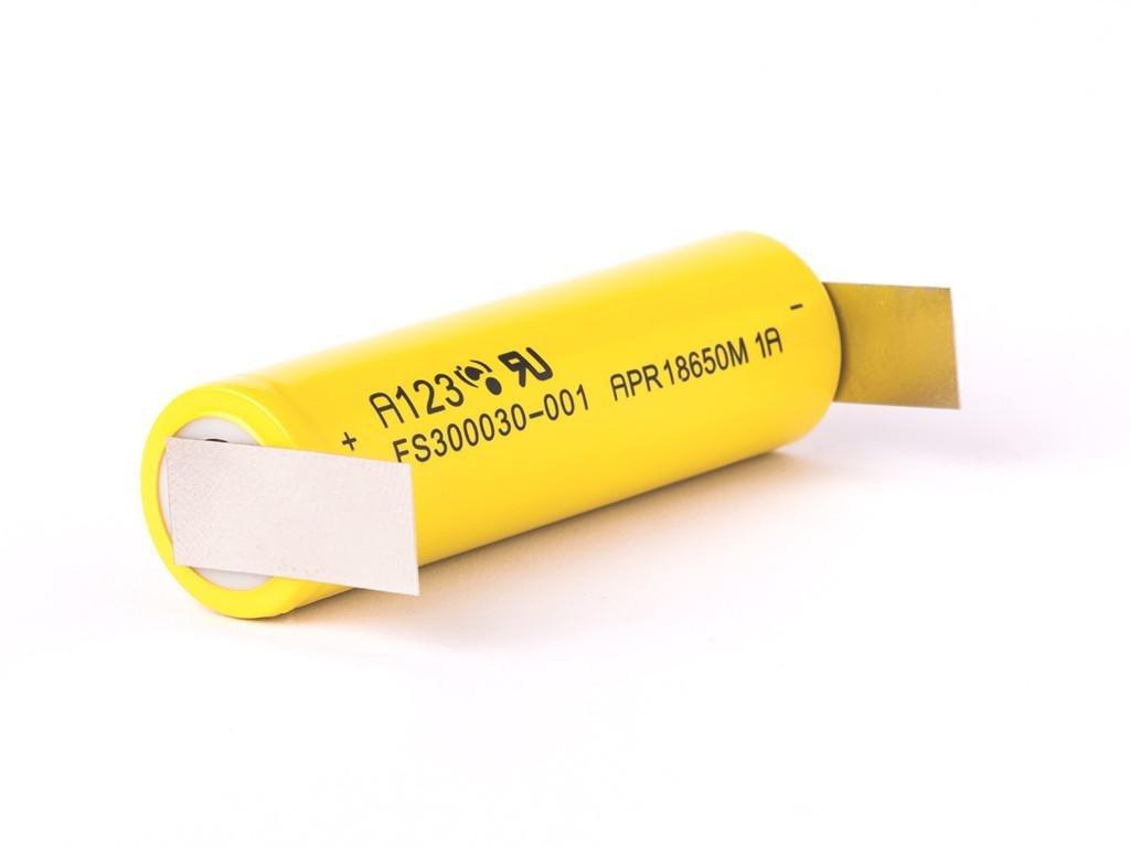A123 -  Akumulátor A123 APR18650M - LiFePo4, 18650, 1100 mAh, bez ochrany, Flat Top + Výstup U