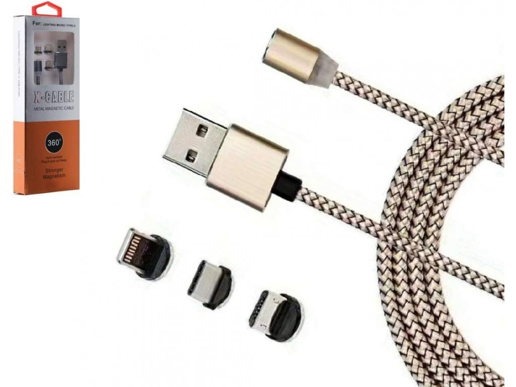X cable metal magnetic 3in1