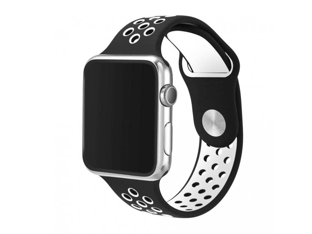 Černobílý silikonový řemínek pro Apple Watch 42 a 44 mm