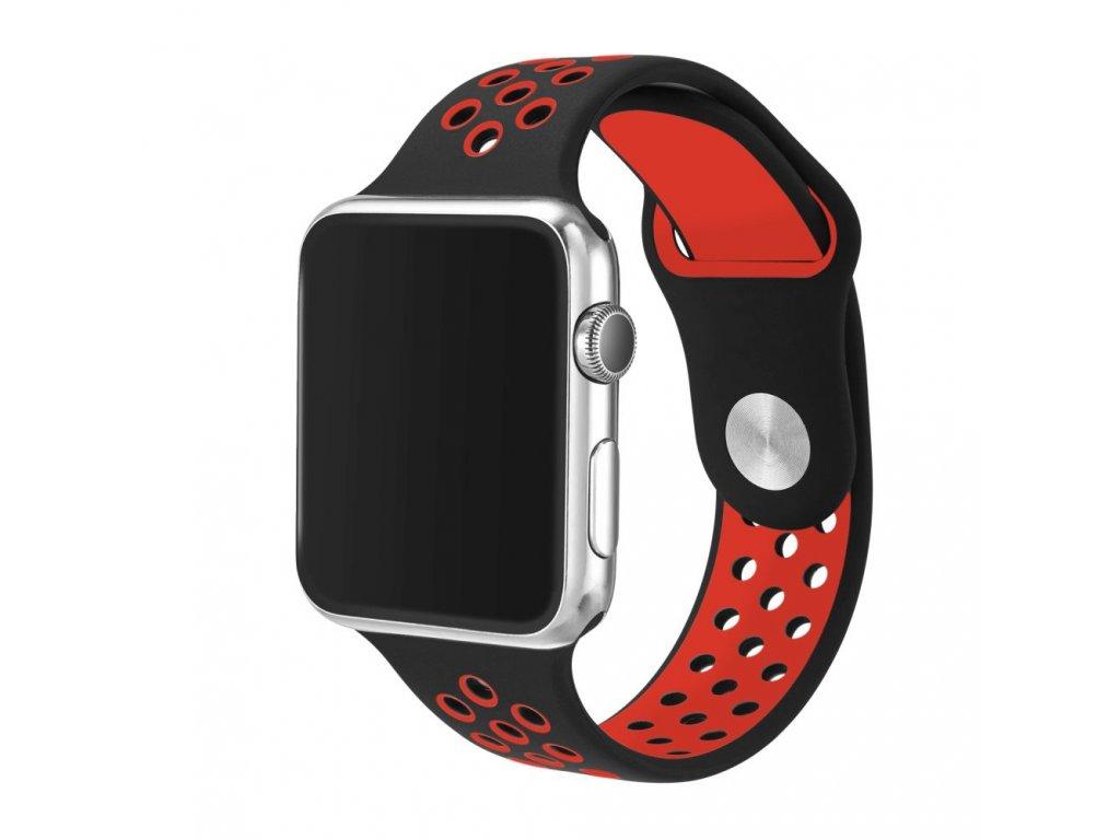 Černočervený silikonový řemínek pro Apple Watch 42 a 44 mm