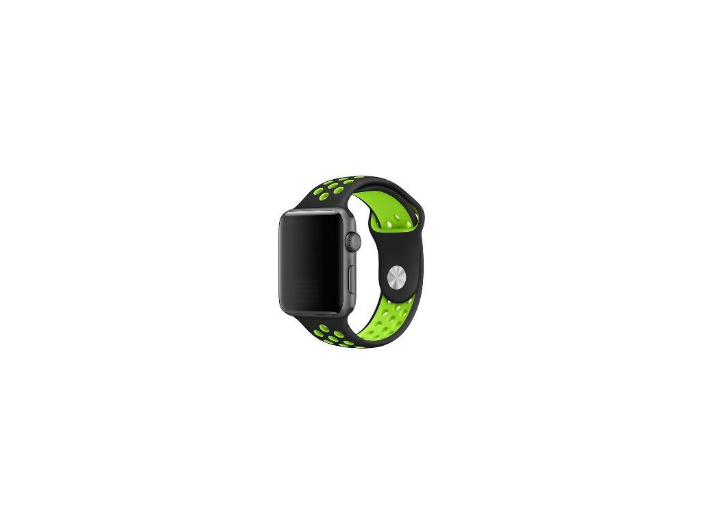 Černozelený silikonový řemínek pro Apple Watch 42 a 44 mm