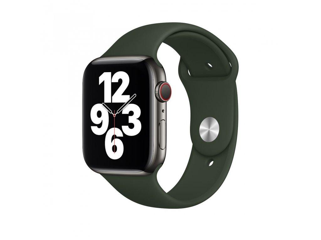 Tmavě zelený silikonový řemínek pro Apple Watch 38 a 40 mm