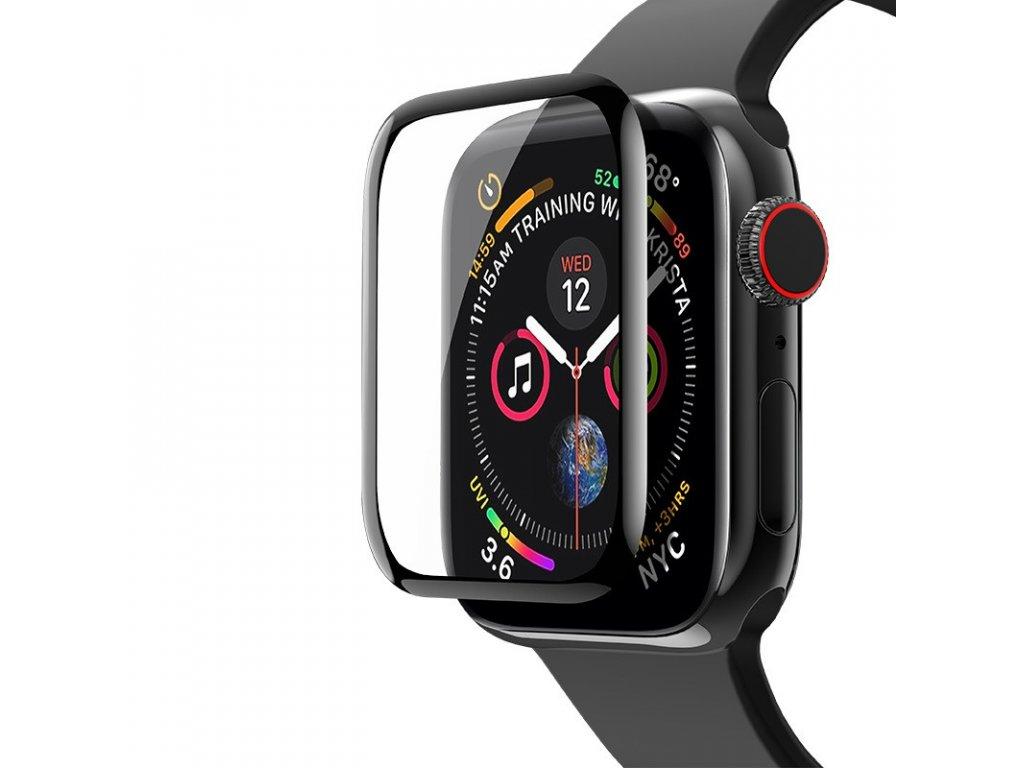 Tvrzené sklo pro Apple Watch 44 mm 3D okraj černé čiré