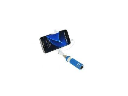 Selfie tyč Blun 3.5mm jack světle modrá