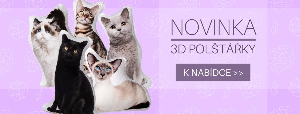 3D polštářky s motivem koček