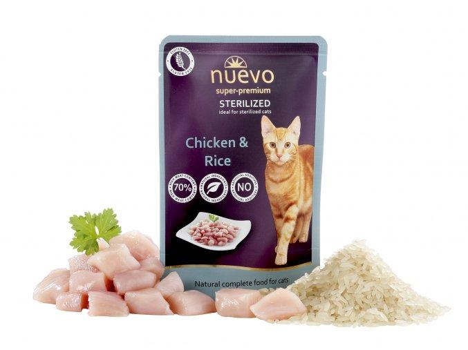 Nuevo Sterilized kuře s rýží - kapsička pro kastrované kočky 85 g