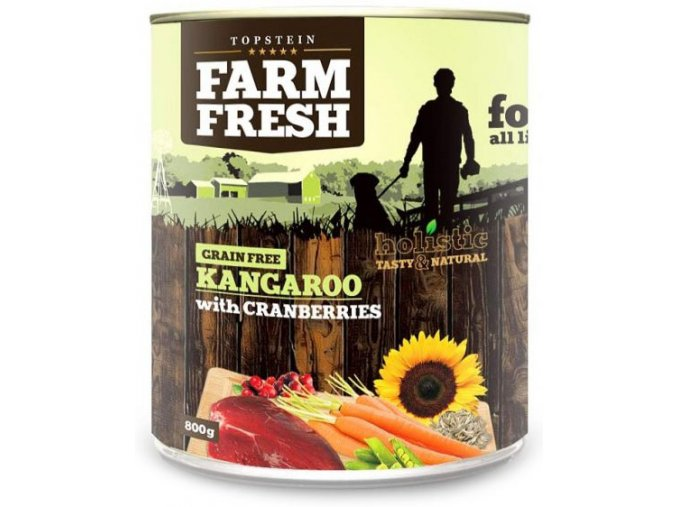 Farm Fresh klokan s brusinkami - konzerva pro psy 800 g