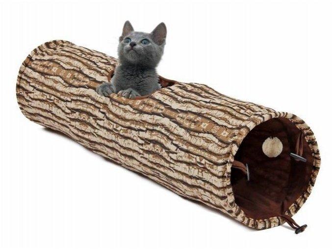 Tunel šustivý s hračkou 25 x 90 cm hnědo-béžový