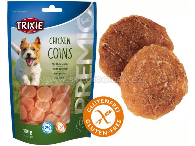 Premio Chicken Coins Light 100 g - pamlsky pro psy bez cukru a lepku