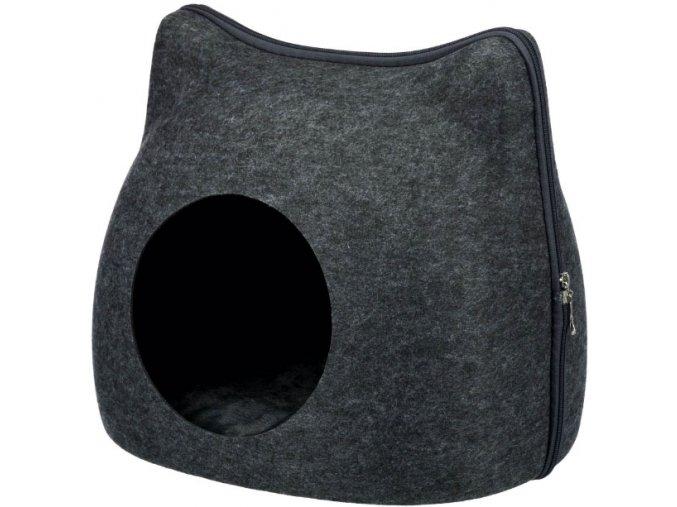 Pelíšek kukaň na zip - kočičí hlava antracitová