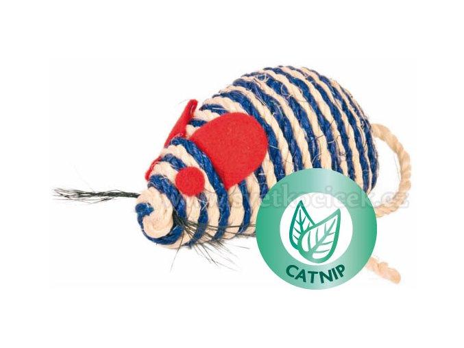 Myš sisal chrastící 10 cm