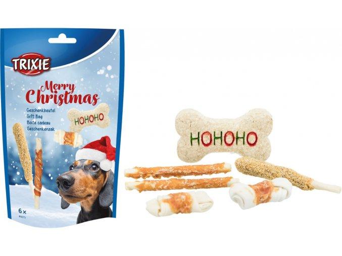 Vánoční dárkový balíček žvýkacích pamlsků pro pejsky 6 ks/156 g