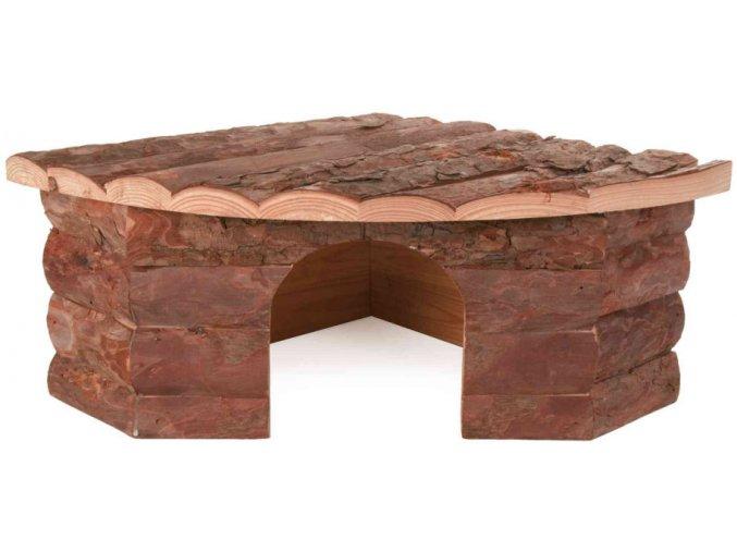 Rohový dřevěný domeček pro králíka nebo morče Jesper