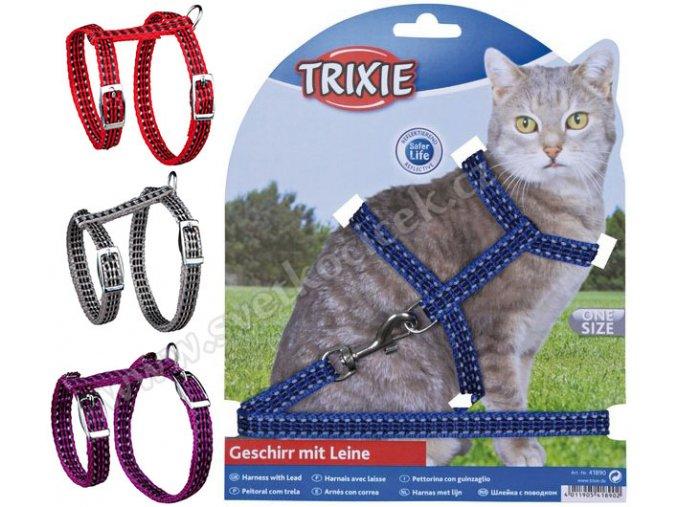 Reflexní postroj s vodítkem pro kočky