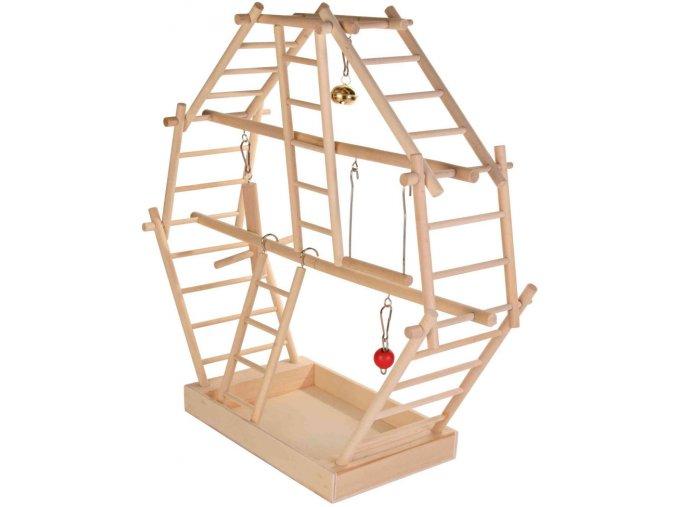 Dřevěné hřiště pro ptáky žebříky Trixie 44x44x16 cm