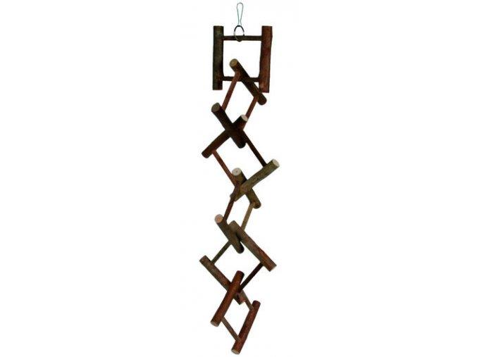 Dřevěný závěsný rozřezaný žebřík 58 cm - hračka pro ptáky