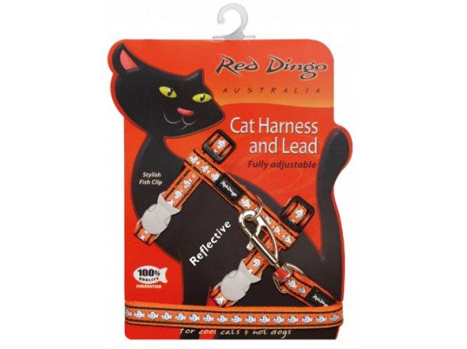 Postroj s vodítkem pro kočky reflexní oranžový