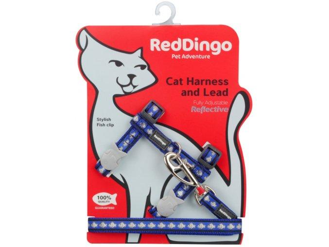 Postroj s vodítkem pro kočky reflexní modrý