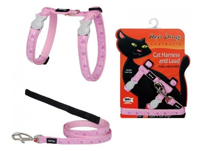 Postroj s vodítkem pro kočky růžový