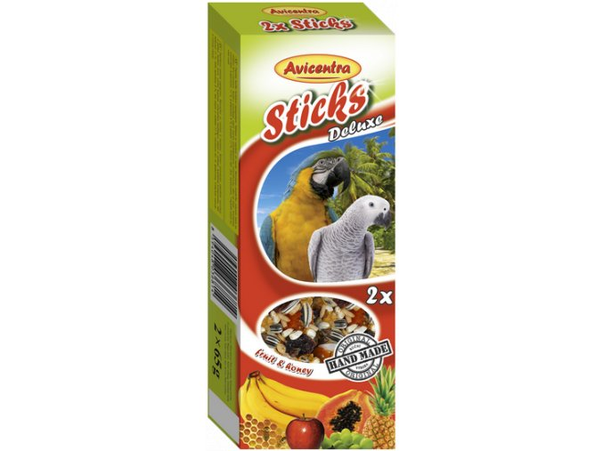 Avicentra tyč velký papoušek ovoce med
