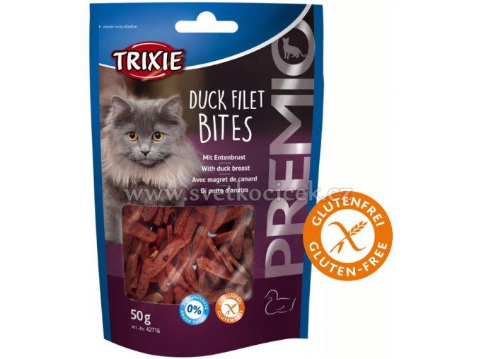 Premio Duck Filet Bites 50 g - pamlsky pro kočky bez cukru a lepku