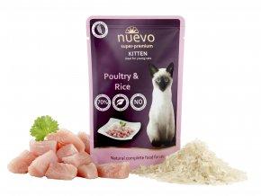 Nuevo Kitten drůbeží s rýží a lososovým olejem - kapsička pro koťata 85 g