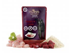 Nuevo Senior drůbeží a jehněčí s rýží - kapsička pro kočky 85 g