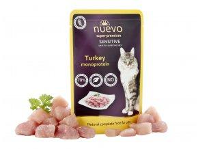 Nuevo Sensitive krůtí monoprotein - kapsička pro kočky 85 g